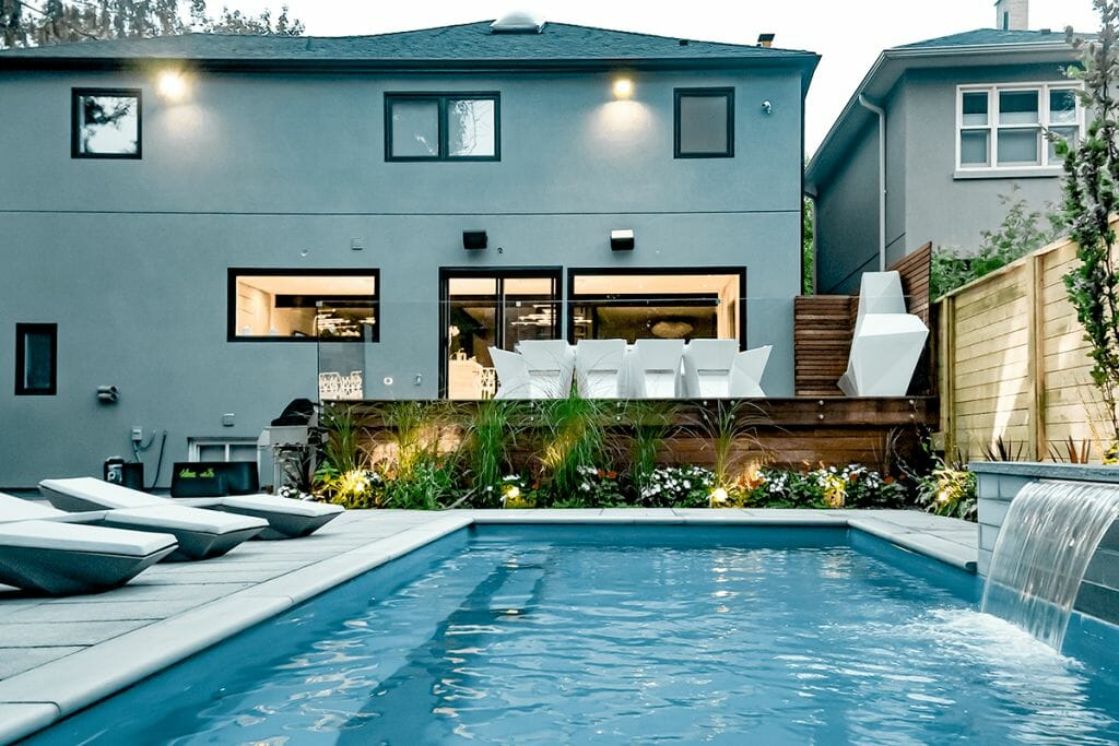Toronto Landscaping Project, Sekler Residence; Featuring Fiberglass Pool Installation with Water Feature, Interlocking, Decking & Cedar Fence Build