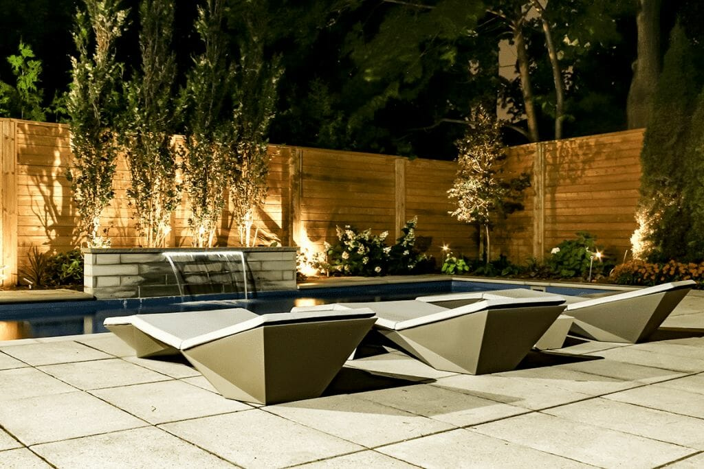 Toronto Landscaping Project, Sekler Residence; Featuring Fiberglass Pool with Water Feature, Cedar Privacy Fence & Interlocking