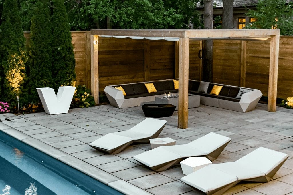 Toronto Landscaping Project by M.E. Contracting; Featuring Fiberglass Pool, Woodworking, Interlocking & Cedar Privacy Fence