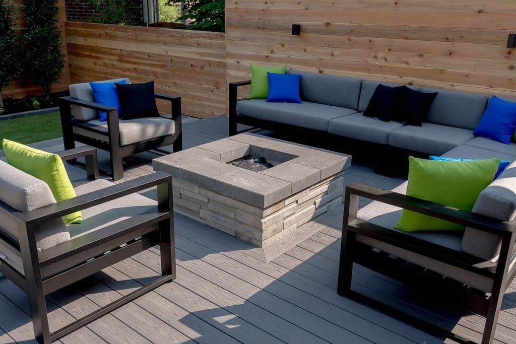 Toronto Patio Design with Outdoor Fireplace, Composite Decking & Cedar Privacy Fence