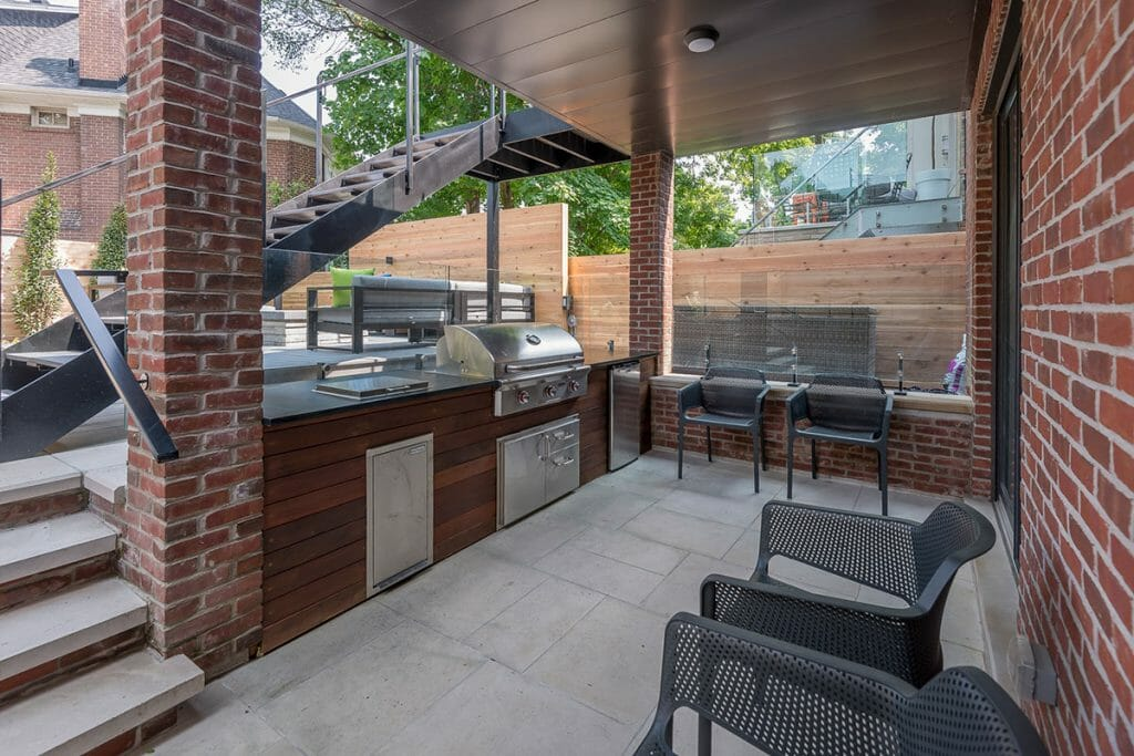 Toronto Patio Design with Outdoor Kitchen Feature by Toronto Landscaping Company