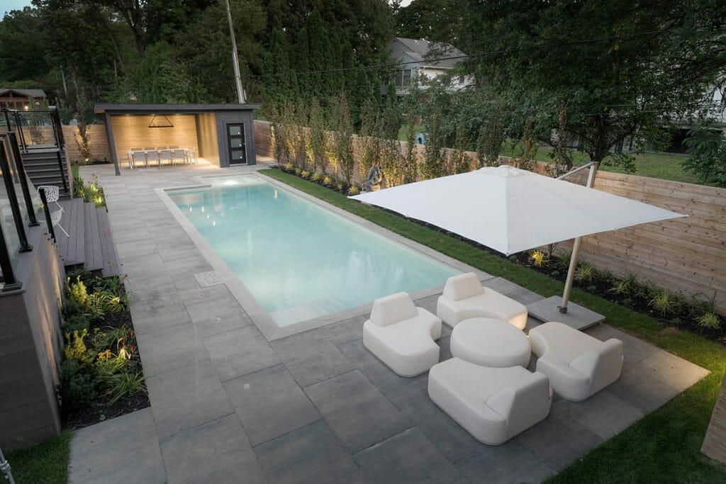 Total Backyard Landscape Design Project on Pheasant Drive; Featuring Concrete Pool, Gazebo, Interlocking, Privacy Fence & PVC Decking